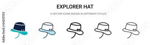 Fotografie, Tablou Explorer hat icon in filled, thin line, outline and stroke style