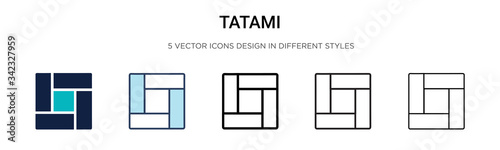 Fotografering Tatami icon in filled, thin line, outline and stroke style