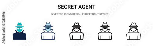 Fotografia Secret agent icon in filled, thin line, outline and stroke style