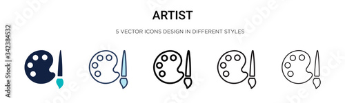 Photo Artist icon in filled, thin line, outline and stroke style