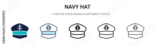 Photo Navy hat icon in filled, thin line, outline and stroke style