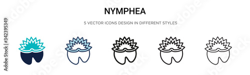Fotografie, Obraz Nymphea icon in filled, thin line, outline and stroke style