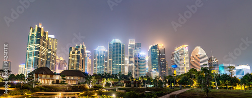 Night panorama of Jakarta, the capital of Indonesia
