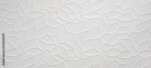White geometric leaves 3d tiles texture Background banner panorama