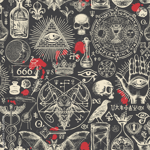 Valokuvatapetti Vector seamless pattern on a theme of satanism, occultism and freemasonry in retro style