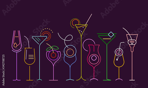 Photographie Neon colors isolated on a dark purple background Cocktails vector illustration