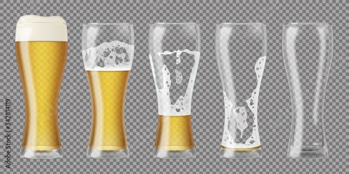 Tall realistic glasses with lager beer and foam