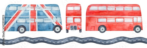 Water color illustration pack of various double-decker buses, side and front view and seamless pattern of highway road фототапет