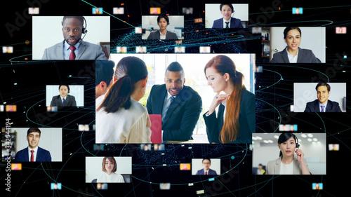 Canvas Global communication network concept