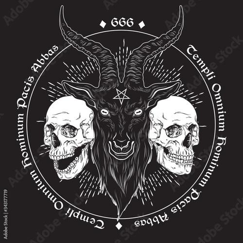 Fotografia Baphomet demon goat head hand drawn print or blackwork flash tattoo art design vector illustration
