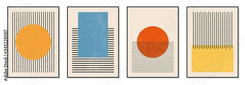 Obraz na plátne Set of minimal 20s geometric design posters, vector template with primitive shap