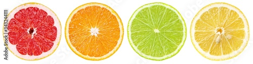 Foto Set of colorful different citrus fruit slices