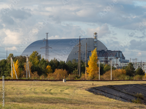 Photo Reactor 4 at the Chernobyl nuclear power plant with a new sarcophagus