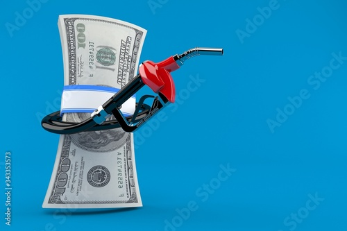 Canvas Print Gasoline nozzle with money