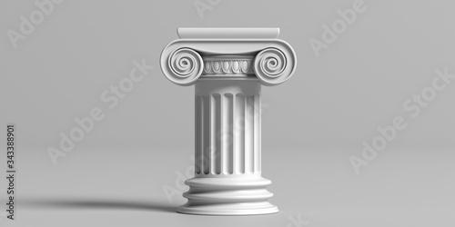 Obraz na plátně Marble pillar column classic greek against gray background