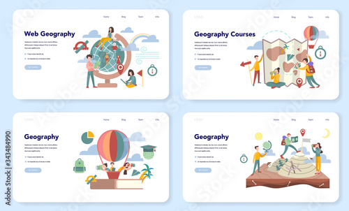Tablou Canvas Geography web banner or landing page set. Global science studying