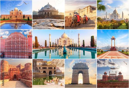 Canvas Print Famous places of India in the collage of photos