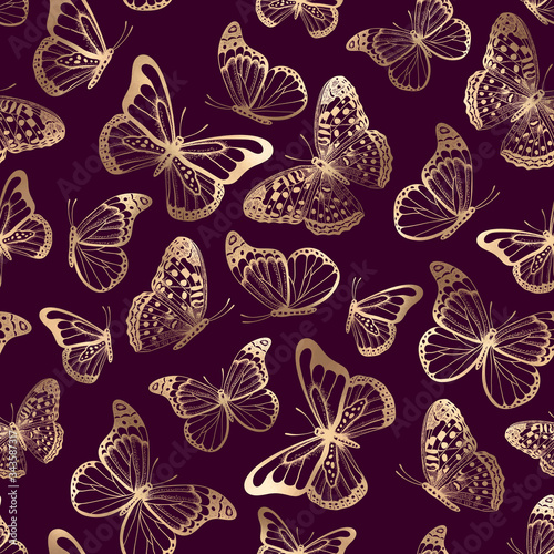 Tablou Canvas Vector seamless pattern with gold butterflies silhouettes on purple background