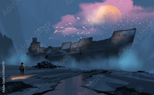 Fotografie, Obraz Digital illustration painting design style a boy looking at to the big ruins ship