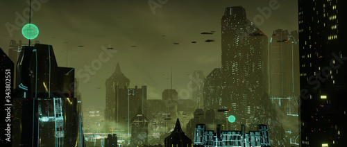 Photo Futuristic dystopian city with flying cars and dark green atmosphere - digital 3