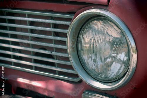 Photo headlight of a vintage car