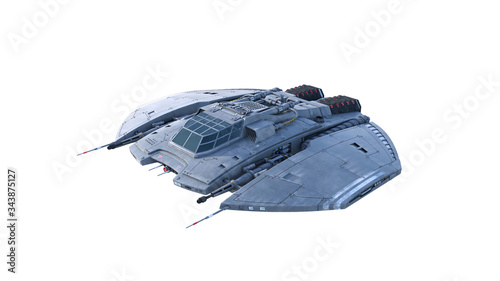 фотография Alien spaceship, UFO spacecraft in flight isolated on white background, 3D rende