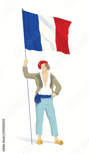 Fotografie, Tablou Young Frenchman in a red Phrygian cap and flag of France