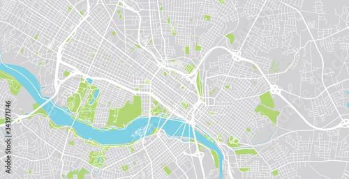 Stampa su Tela Urban vector city map of Richmond, USA. Virginia state capital
