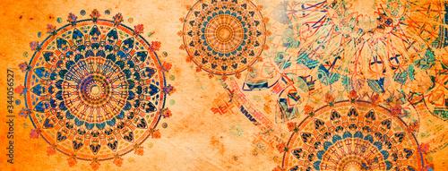 Fotografie, Obraz mandala colorful vintage art, ancient Indian vedic background design, old painti