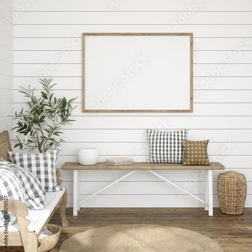 Canvas-taulu Frame mockup in farmhouse living room interior, 3d render