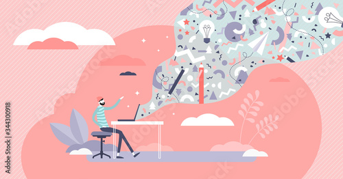 Digital creativity vector illustration. Visual art flat tiny persons concept