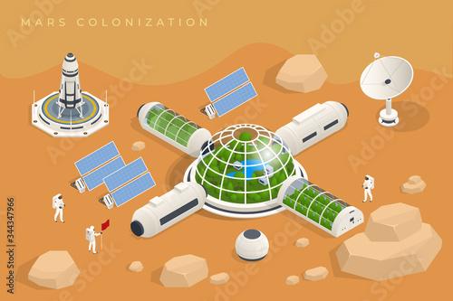 Obraz na plátne Isometric Mars Colonization, Biological terraforming, Paraterraforming, Adapting humans on Mars