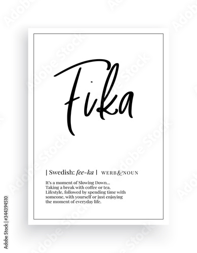 Photo Fika definition, Minimalist Wording Design, Wall Decor, Wall Decals Vector, Fika