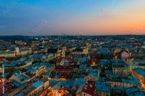 Aerial view of historic center of Lviv, Ukraine. Lvov cityscape. View from Lviv Town Hall