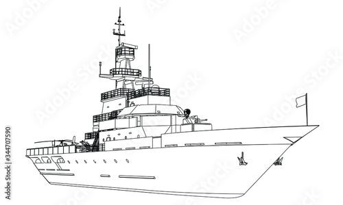 Canvas Print Military ship outline vector