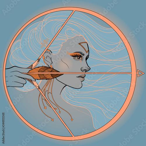 Obraz na plátně girl sagittarius horoscope zodiac bow and arrow