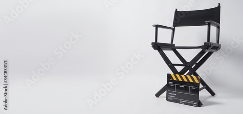 Fotografía Clapper board or movie slate with director chair