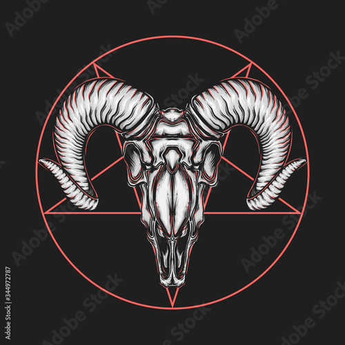 Fotografia Hand drawing vintage satanic goat head vector illustration