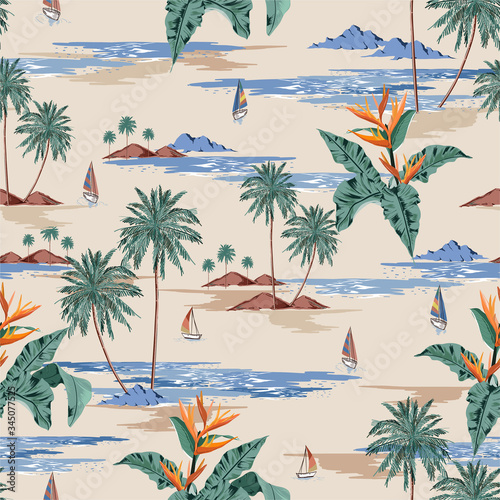 Retro seamless tropical island pattern on light beige ocean background. Landscape with palm trees,beach and ocean vector hand drawn style.Design for fashion,fabric,web,wallaper,wrapping