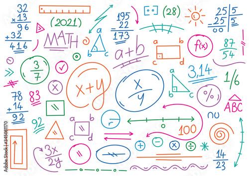 Canvas Print hand drawn math symbols