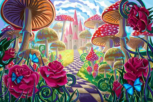 """fantastyczny krajobraz z grzybami, pięknym starym zamkiem, czerwonymi różami i motylami. ilustracja do bajki """"Alicja w Krainie Czarów"""""""