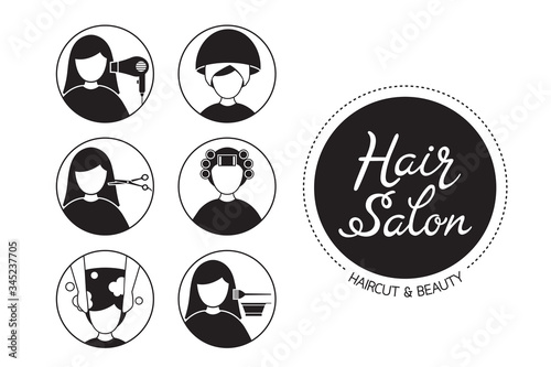 Hair Salon Sign And Icon Set Of Service, Monochrome