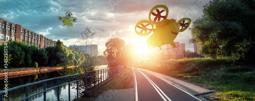 Photo Yellow flying taxi against the sky, city electric transport drone