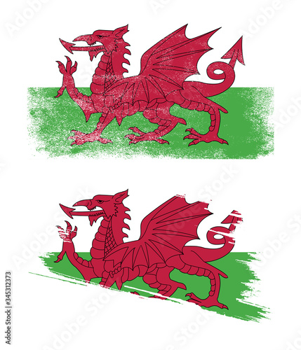 Canvas Print wales flag with grunge texture