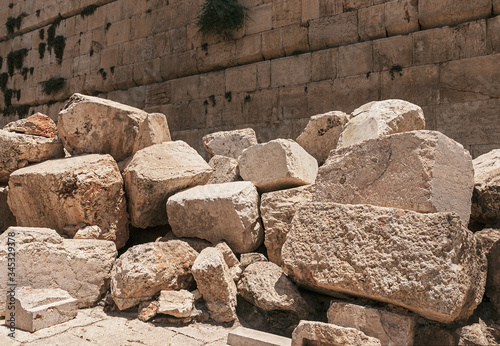 Canvas Print stones thrown by the romans from the second temple to the street below after the