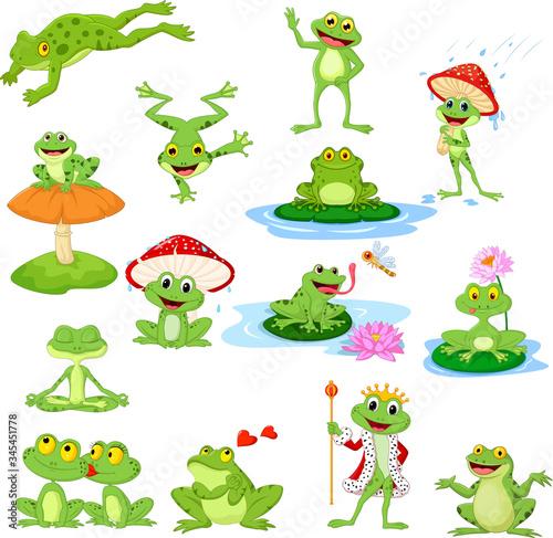 Tablou Canvas Cartoon funny frog collection set