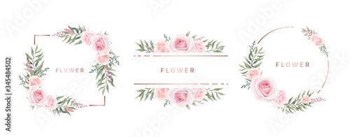 Watercolor flower frame Rose Eucalyptus. Template wedding invitation card. Rose metallic frame.