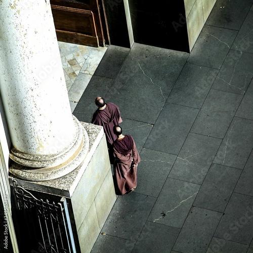 Obraz na plátne High Angle View Of Friars Walking At Catedral Metropolitana De Campinas