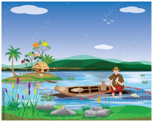 Obraz na plátně Fishermen sit on sampan trap fish with nets vector design
