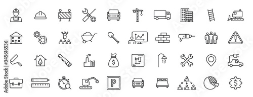 Vászonkép Set of 40 Construction web icons in line style